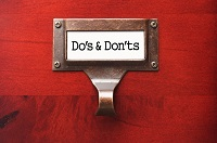 dos and donts on a file drawer
