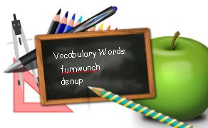Vocabulary words on chalkboard